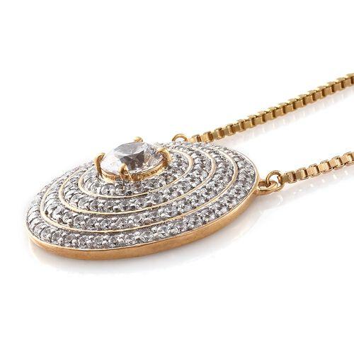 J Francis - Premium Collection 14K Gold Overlay Sterling Silver (Rnd) Adjustable Necklace (Size 18) Made with SWAROVSKI ZIRCONIA.Silver Wt 14.50 Gms  Number of Swarovski 123 PCS