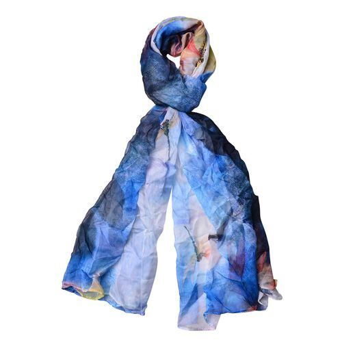 Blue, Orange, Yellow and Multi Colour Floral and Dragonfly Pattern Scarf (Size 170 x70 Cm)