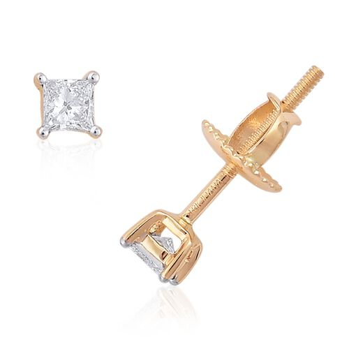 ILIANA 18K Yellow Gold 0.25 Carat Princess Cut Diamond Solitaire Stud Earrings (with Screw Back),SI G-H, IGI Certified