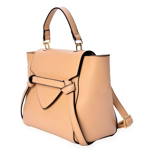 (Option 2) Beige Colour Top Handle Bag with Adjustable and Removable Shoulder Strap (Size 35x25x10 Cm)