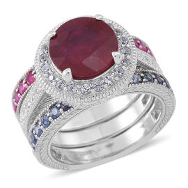 African Ruby (Rnd 5.39 Ct), Kanchanaburi Blue Sapphire, Burmese Ruby and Natural Cambodian White Zircon Ring in Rhodium Plated Sterling Silver 7.500 Ct.