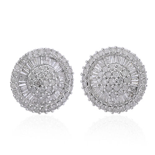 9K Yellow Gold SGL Certified Diamond (Rnd) (I3 G-H) Stud Earrings 1.000 Ct.Gold Wt 2.65 Gms.
