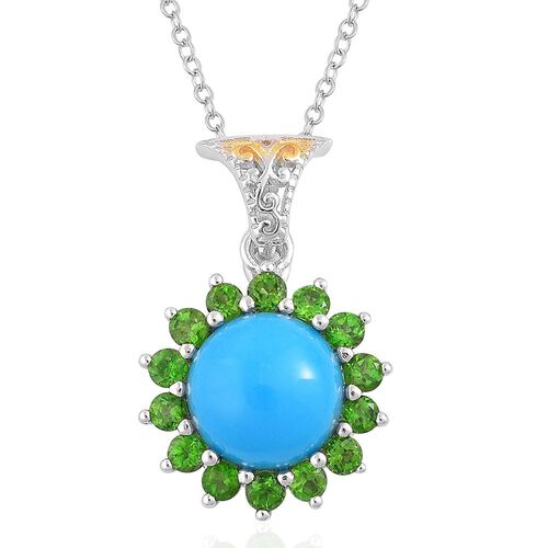 Arizona Sleeping Beauty Turquoise (Rnd 2.75 Ct), Russian Diopside Pendant with Chain in Rhodium and Yellow Gold Overlay Sterling Silver 3.900 Ct.