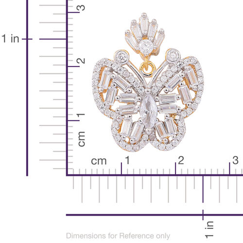 ELANZA AAA Simulated White Diamond (Bgt) Butterfly Pendant in 14K Gold Overlay Sterling Silver
