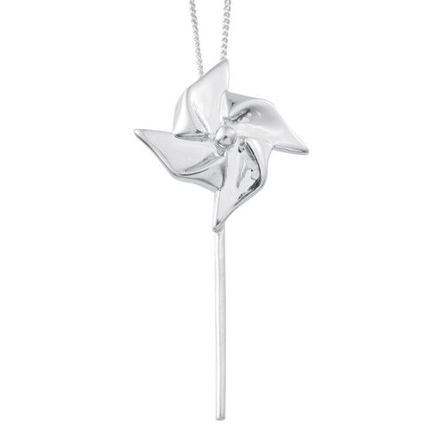 Platinum Overlay Sterling Silver Origami Pinwheel Pendant With Chain