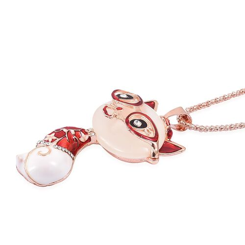 Simulated Ethiopian Opal and White Austrian Crystal Red Colour Enameled Cat Pendant with Chain (Size 30) in Rose Gold Tone