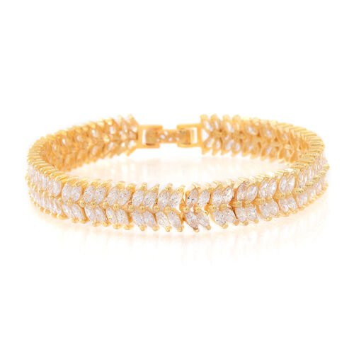 ELANZA AAA Simulated White Diamond (Mrq) Double Strand Bracelet (Size 7.5) in 14K Gold Overlay Sterling Silver.Silver Wt 17.00 Gms and 144 number of Stones.