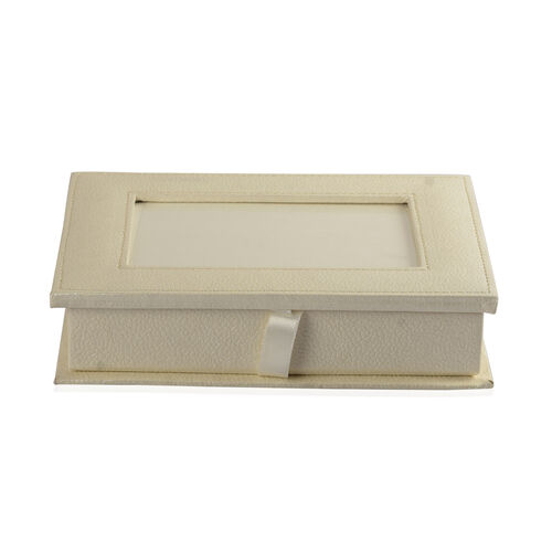 Handcrafted Eco Leatherette White Colour Jewellery Box with Photo Frame on Top (Photo Size 15x10 Cm)
