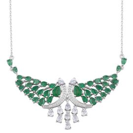 Kagem Zambian Emerald (Pear), Natural Cambodian Zircon Crown Necklace (Size 18) in Platinum Overlay Sterling Silver 10.000 Ct.
