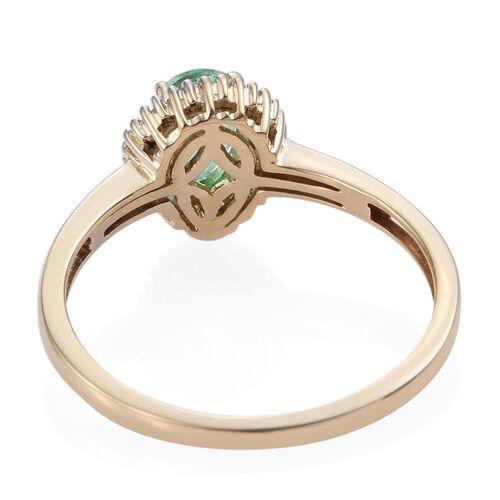 9K Y Gold Boyaca Colombian Emerald (Pear 0.65 Ct), Diamond Ring 0.850 Ct.