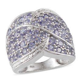 Tanzanite (Rnd), Diamond Cluster Ring in Platinum Overlay Sterling Silver 3.530 Ct.