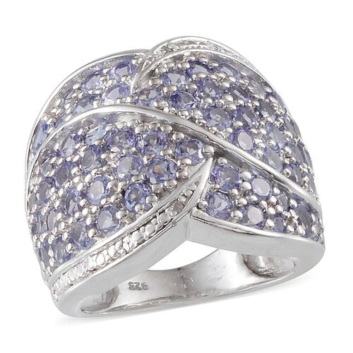 Tanzanite (Rnd), Diamond Cluster Ring in Platinum Overlay Sterling Silver 3.530 Ct.