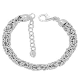 Vicenza Collection Sterling Silver Byzantine Bracelet (Size 7 with 1.5 inch Extender), Silver wt. 17.60 Gms.