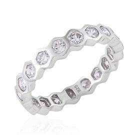 J Francis - Platinum Overlay Sterling Silver (Rnd) Full Eternity Ring Made with SWAROVSKI ZIRCONIA