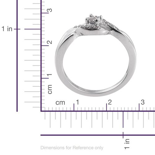 Diamond (Rnd) Bypass Promise Ring in Platinum Overlay Sterling Silver 0.050 Ct.