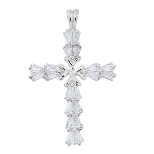ELANZA AAA Simulated Diamond (Bgt) Cross Pendant in Rhodium Plated Sterling Silver
