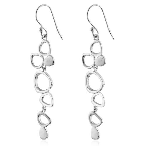 Close Out Deal-Rhodium Plated Sterling Silver Bubbles Inspired Hook Earrings, Silver wt. 5.01 Gms.