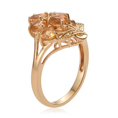Citrine (Hrt), Yellow Diamond Ring in ION Plated 18K Yellow Gold Bond 1.760 Ct.