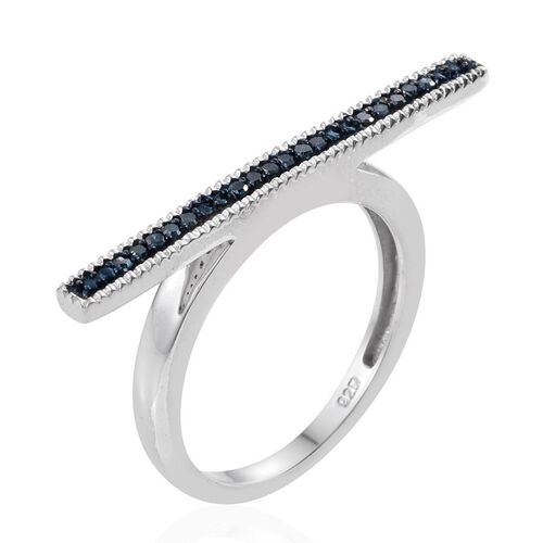 Blue Diamond (Rnd) Bar Stacking Ring in Platinum Overlay Sterling Silver 0.100 Ct.