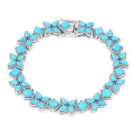 Arizona Sleeping Beauty Turquoise (Pear), Amethyst Bracelet (Size 7.5) in Rhodium Overlay Sterling Silver 12.874 Ct, Silver 17.00 Gms.