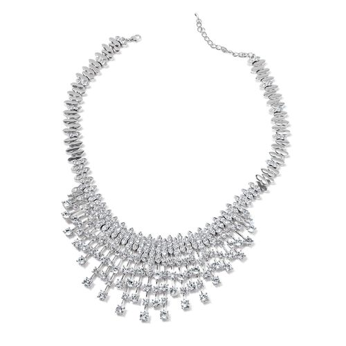 White Austrian Crystal Waterfall Necklace (Size 18) in Silver Tone