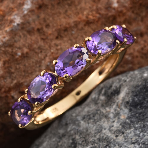 2.25 Ct Amethyst 5 Stone Ring in Gold Plated Silver