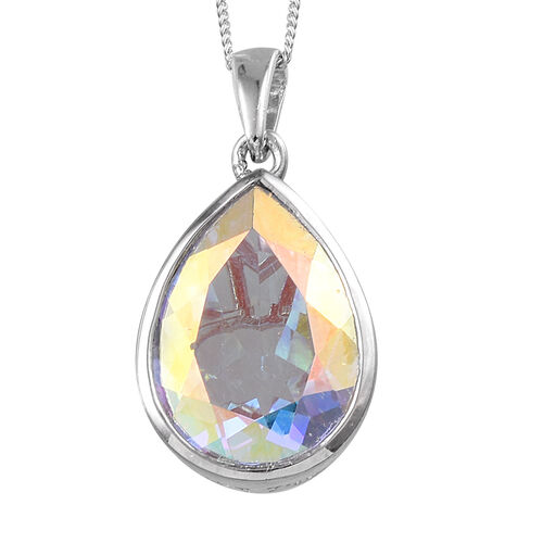 Mercury Mystic Topaz (Pear) Pendant With Chain in Platinum Overlay Sterling Silver 11.250 Ct.