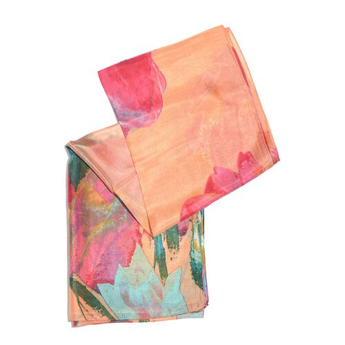 100% Mulberry Silk Peach, Green and Multi Colour Hand Screen Tulip Printed Scarf (Size 200X180 Cm)