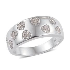 0.25 Carat Diamond Heart Stacking Band Ring in Platinum Overlay Sterling Silver