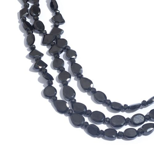 Boi Ploi Black Spinel (Ovl) Necklace (Size 20) in Platinum Overlay Sterling Silver 203.880 Ct.