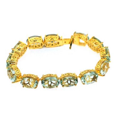 Green Amethyst (Ovl) Bracelet in 14K Gold Overlay Sterling Silver (Size 8) 75.000 Ct.
