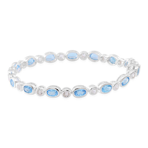 Swiss Blue Topaz (Ovl), White Topaz Bracelet (Size 7.5) in Rhodium Plated Sterling Silver 10.000 Ct.
