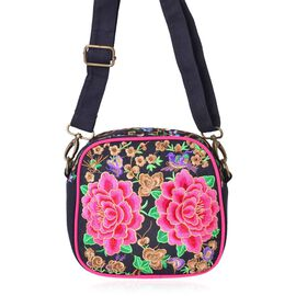 One Time Deal-Shanghai Collection Floral Embroidered Crossbody Bag with Adjustable and Removable Shoulder Strap (Size 18.5X17.5X7.5 Cm)