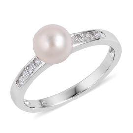 Japanese Akoya Pearl (6.5-7mm) and 0.18 Ct Diamond Ring in Rhodium Plated Silver