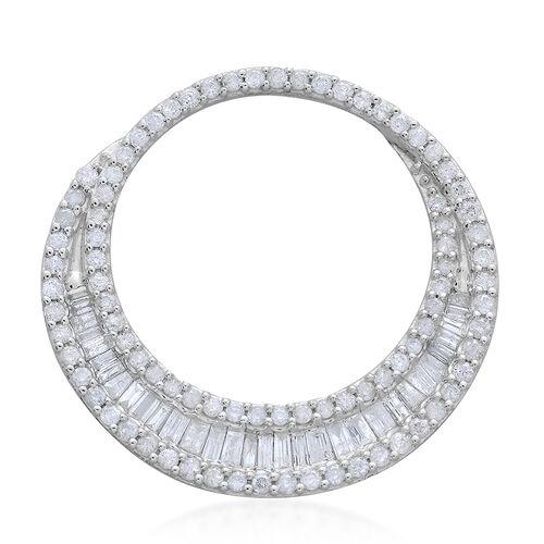 9K W Gold SGL Certified Diamond (Bgt) (I 3/G-H) Pendant 1.000 Ct.