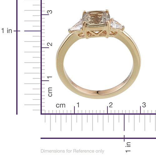 ILIANA 18K Y Gold Turkizite (Cush 1.90 Ct), Diamond Ring 2.150 Ct.