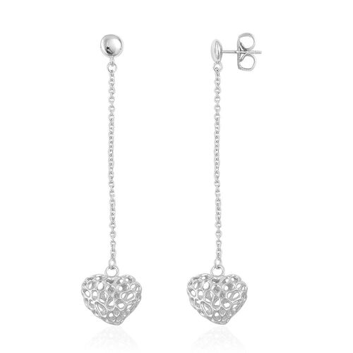 RACHEL GALLEY Rhodium Plated Sterling Silver Amore Heart Lattice Drop Earrings (with Push Back), Silver wt 6.09 Gms.