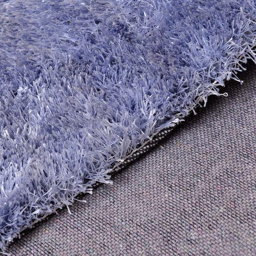 Super-Plush Extra-Long Pile Silver Colour Lounge Carpet (Size 200x140 Cm)