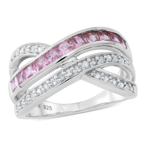 AAA Pink Sapphire (Sqr),Natural Combodian White Zircon Criss Cross Ring in Rhodium Plated Sterling Silver 2.000 Ct.