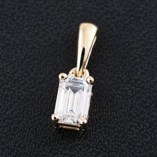 J Francis - 9K Yellow Gold Octagon Solitaire Pendant Made with SWAROVSKI ZIRCONIA