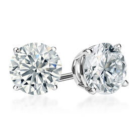 New York Close Out Deal - 9K White Gold AGI Certified Diamond (Rnd) (I2/G-H) Stud Earrings 0.500 Ct.