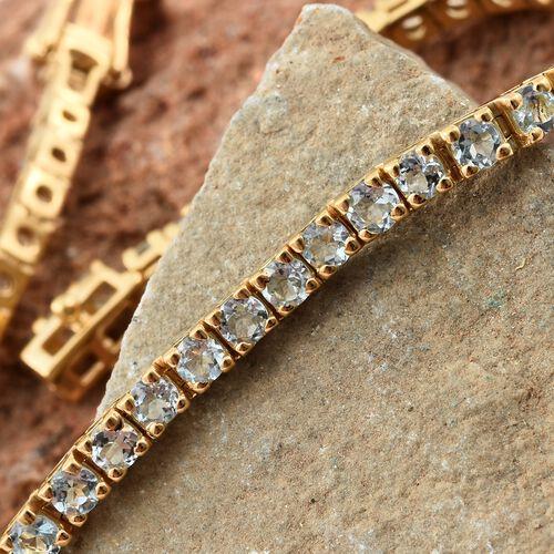 Espirito Santo Aquamarine Tennis Bracelet in Gold Plated Silver 5.50 Ct (Size 7.5) 10 Gms