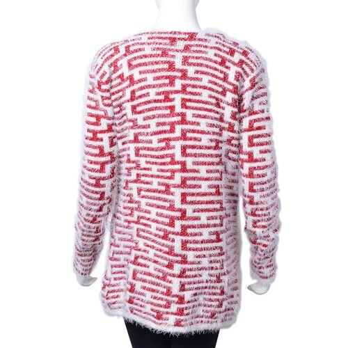 Italian Designer Inspired- Wine Red and White Colour Apparel with Pockets (Size 75X55 Cm)