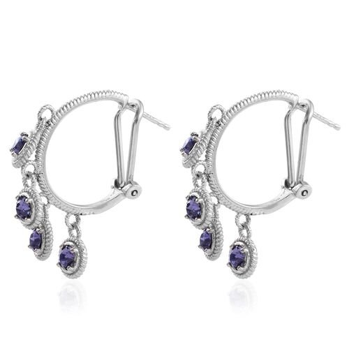 J Francis Crystal from Swarovski - Tanzanite Colour Crystal (Rnd) Hoop Earrings (with French Clip) in Platinum Overlay Sterling Silver.Silver Wt 6.00 Gms