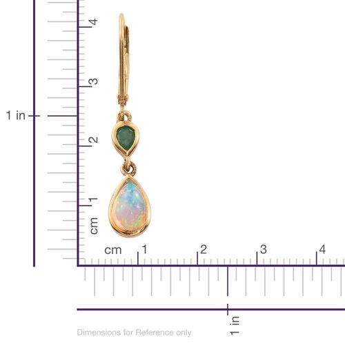 Ethiopian Welo Opal (Pear), Kagem Zambian Emerald Lever Back Earrings in 14K Gold Overlay Sterling Silver 1.250 Ct.