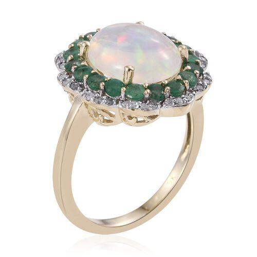 9K Y Gold AAA Ethiopian Welo Opal (Ovl 2.80 Ct), AAA Brazilian Emerald and Diamond (I3/G-H) Ring 4.000 Ct.