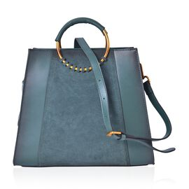 Genuine Leather Dark Green Colour Tote Bag with Round Metallic Handle and Adjustable and Removable Shoulder Strap (Size 30X25.5X12.5 Cm)