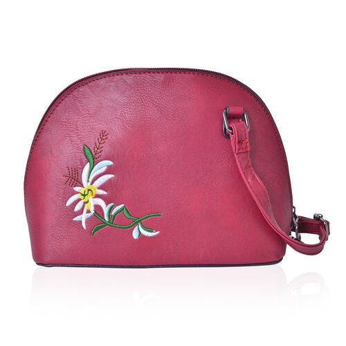 Burgundy, White and Yellow Colour Flower Embroidered Crossbody Bag with Adjustable Shoulder Strap (Size 22X17X10 Cm)