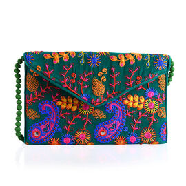 Designer Inspired - Pink, Green and Multi Colour Paisley and Floral Embroidered Envelope Design Cotton Sling Bag (Size 30X20 Cm)