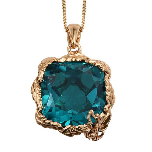 Capri Blue Quartz (Cush) Pendant With Chain in 14K Gold Overlay Sterling Silver 12.000 Ct.